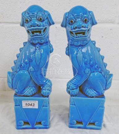 PAIR OF LATE QING DYNASTY STYLE TURQUOISE GLAZED FOO DOGS 30 CM TALL