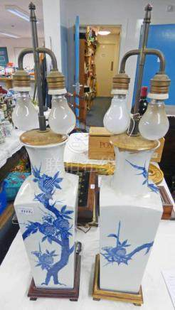 PAIR CHINESE BLUE & WHITE TABLE LAMP CONVERTED FROM VASES 77CM TALL