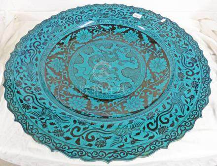 LARGE HAND PAINTED TURQUOISE GLAZED QING DYNASTY STYLE BOWL 66 CM DIAMETER
