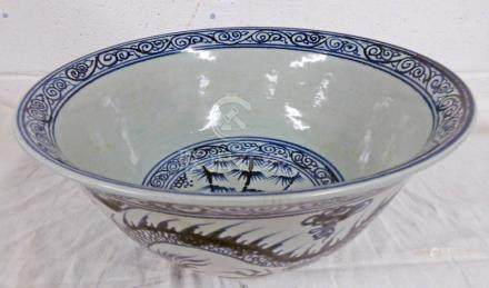 BLUE AND WHITE Q'ING DYNASTY STYLE DRAGON BOWL 28 CM DIAMETER
