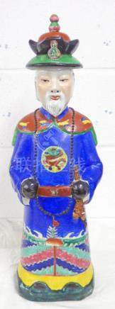 CHINESE FIGURE WITH HAT DECORATED IN BLUE & RED ETC 59 CMS