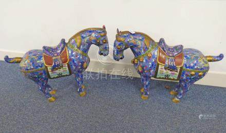 PAIR CHINESE CLOISONNE HORSES WITH FLORAL DECORATION 58CM TALL (28) Condition Report: