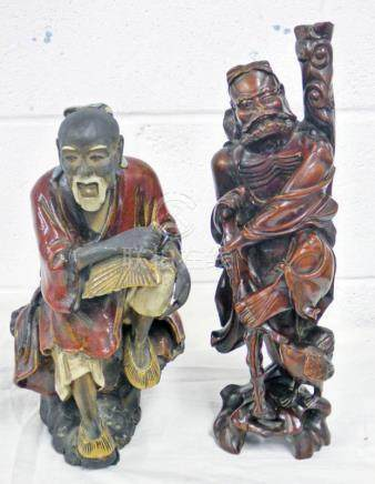 CHINESE POTTERY FIGURE OF A MAN SEATED AND HARDWOOD CHINESE FIGURE 37 CMS NO 7 & 3
