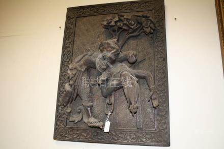 Antique Carved Asian Door Panel decorated with Half Man Mythical Creature carrying a Goddess