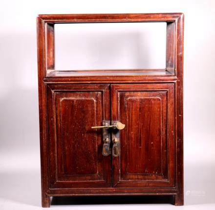 Chinese 19 C Hardwood Double Door 2 Shelf Cabinet