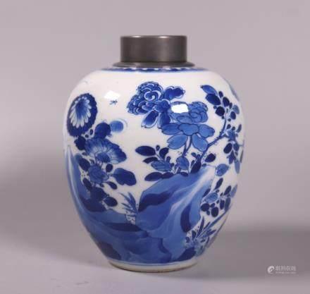 Chinese Kangxi Circa 1700 B & W Porcelain Tea Jar