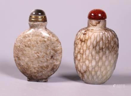 2 Chinese 18/19C Chicken-Bone Jade Snuff Bottles
