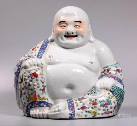 Chinese Enameled Porcelain Seated Hotai Buddha