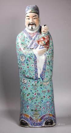 Large Chinese Enameled Porcelain Fuxing Figure