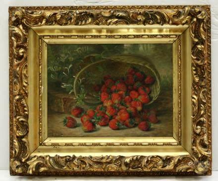 August Laux; Fresh Strawberries; Oil Canvas