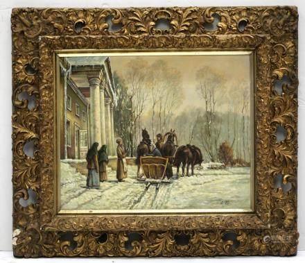 Russian Oil Canvas: Lady in Troika; Servants