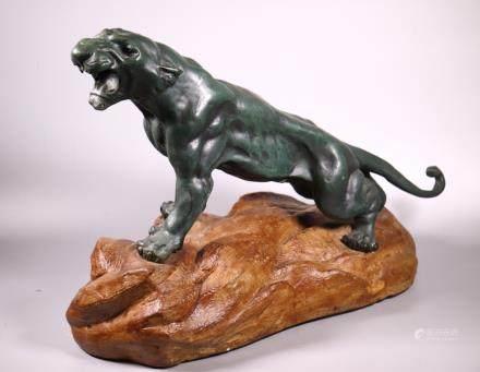 Japanese Meiji Bronze Tiger on Rockwork Base
