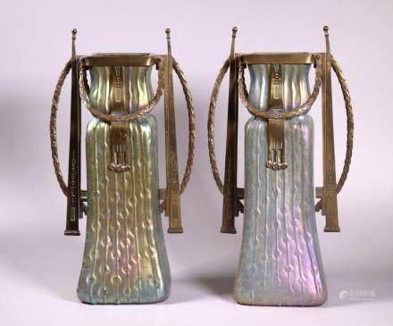 Rare Pr Jugenstil Iridescent Glass & Bronze Vases