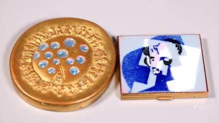 2 Compacts; Line Vautrin Bronze; Cubist Enamel