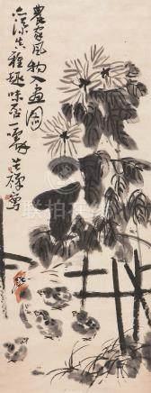 李苦禅 农家风物入画图 LI KU CHAN FLOWER