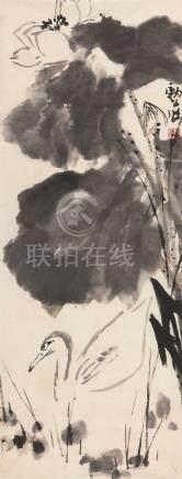 李苦禅 荷花水鸟 LI KU CHAN FLOWER & BIRD