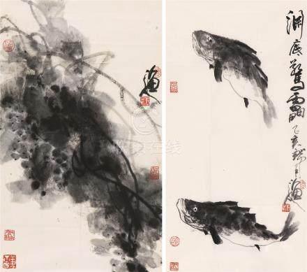 张立辰 渔人二帧 ZHANG LI CHEN FISH