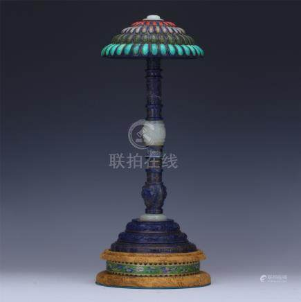 CHINESE LAPIS CORAL TURQUOISE JADE HAT STAND