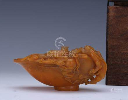 CHINESE SOAPSTONE CARVED DRAGON JUE CUP