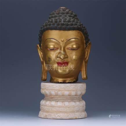 CHINESE GILT BRONZE BUDDHA'S HEAD