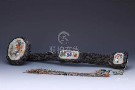 CHINESE GEM STONE INLAID HARDWOOD ZITAN RUYI SCEPTER