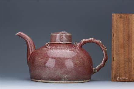 CHINESE PORCELAIN RED GLAZE LIDDED TEA POT