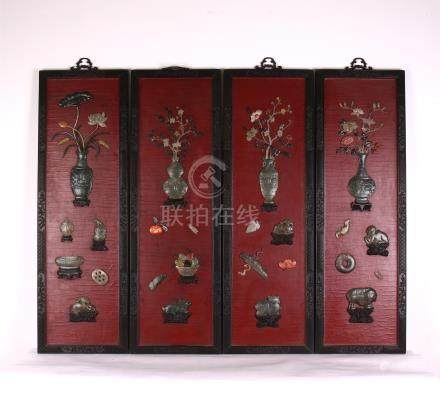 FOUR PANELS OF CHINESE GEM STONE INLAID LACQUER ZITAN WALL SCREENS