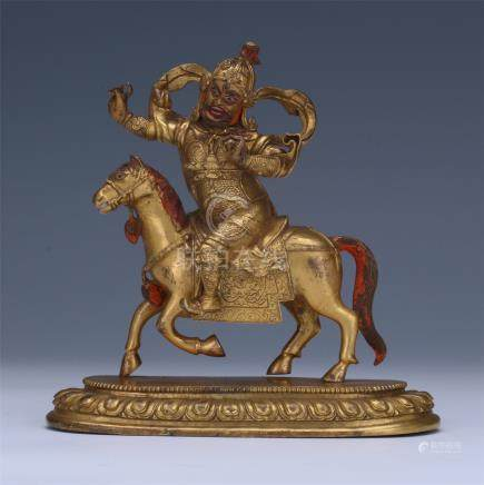 CHINESE GILT BRONZE WARROIR ON HORSE