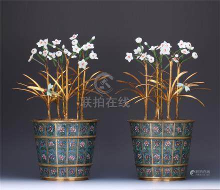 PAIR OF CHINESE JADE GILT BRONZE ORCHID IN CLOISONNE BASINS