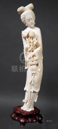 Antique Chinese Guanyin Ivory Statue