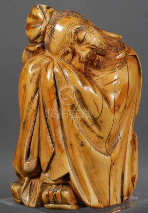 Antique Chinese Sleeping Immortal Ivory Carving