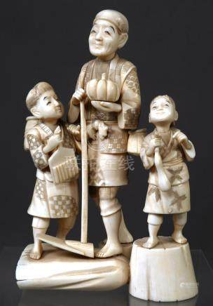 Antique Japanese Carved Ivory Figural Group