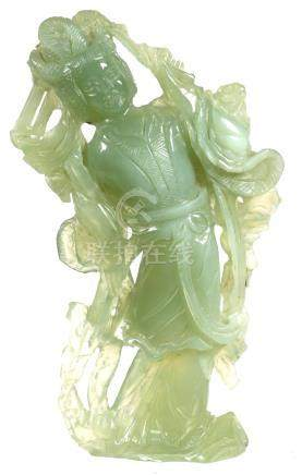 Carved Green Jade GuanYin Statue