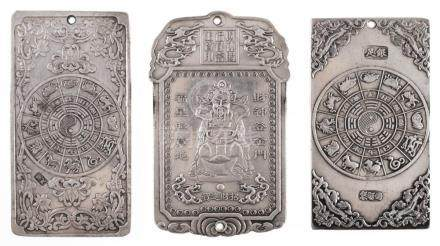 3 Chinese Relief Silver Scroll Weight Plaques