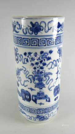 A nineteenth century Chinese blue & white chimney vase with four character marks to the base,