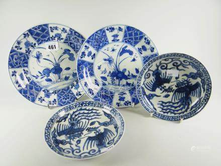 A pair of Chinese blue & white phoenix decorated dishes (damage to one), 16.5cms diam & a pair of