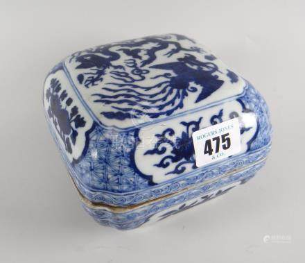 A Chinese blue & white porcelain box & cover, the cover decorated with phoenix & five-claw dragon,
