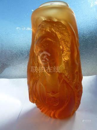 Loretta Hui-shan Yang or Yang Huishan - A pate de verre case glass vase of amber colour, of