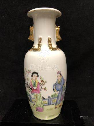 A Chinese porcelain baluster vase, painted with figures in famille rose tones, the shoulder