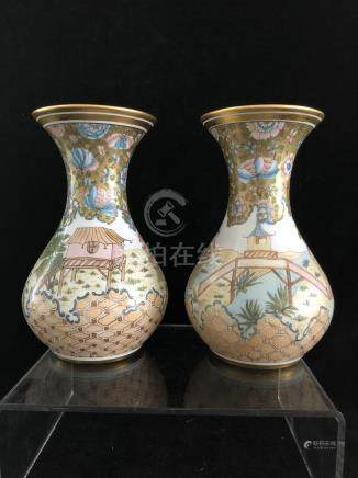 Baccarat - Two unusual white glass vases, globular with trumpet neck, painted with continuous