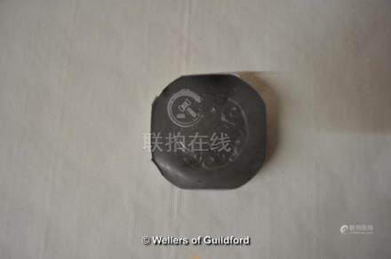 A Chinese hardstone seal with dragon carved to the top, 5cm diameter.