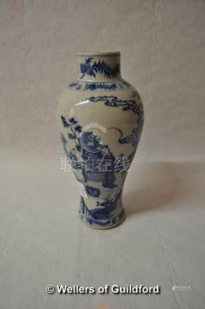 A Chinese blue and white baluster vase decorated with figures in a garden, two blue rings to base,