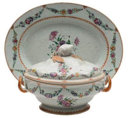 A Chinese export famille rose tureen,