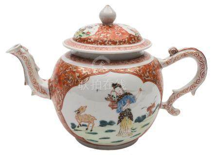 A Chinese famille rose/verte teapot and cover: painted to each side with an elegant lady and a deer