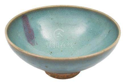 A Chinese Junyao purple-splashed bowl: of conical form and covered with a thick mottled creamy-blue
