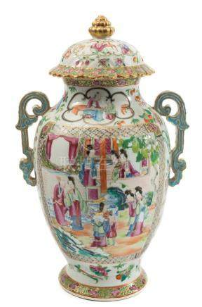 A Canton porcelain two-handled jar and cover: of footed oviform with domed,