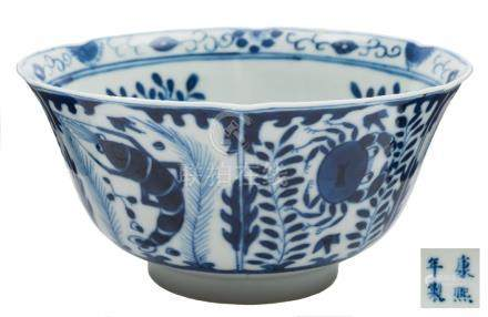 A Chinese blue and white porcelain bowl: the exterior painted with fish and crustacea,
