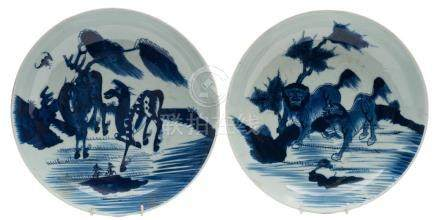 Two Chinese porcelain shallow dishes: each painted in blue, one with a pair of horses and a bat ,