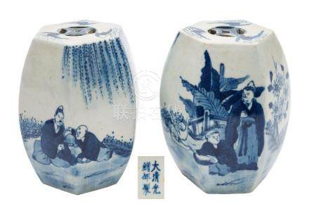 A pair of Chinese blue and white models of hexagonal garden seats: each painted with scholars and