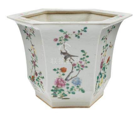 A Chinese famille rose hexagonal jardiniere: painted on each side with birds and flowering shrubs,